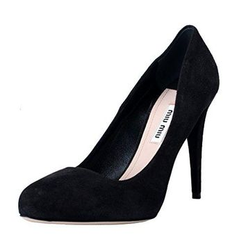 Miu Miu Women's Black Suede Leather High Heel Pumps Shoes