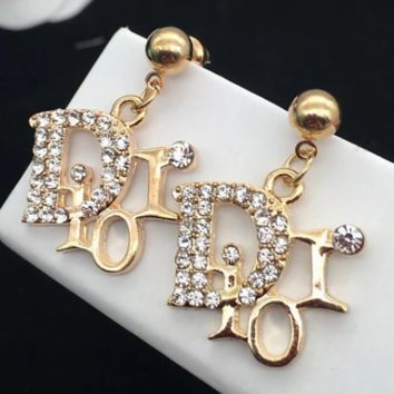 DIOR 2018 spring and summer new women's beautiful diamond long earrings F-QSSP-DP gold
