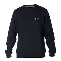 NIKE CLUB SWOOSH CREW SWEATSHIRT - Black - NIKE CLOTHING