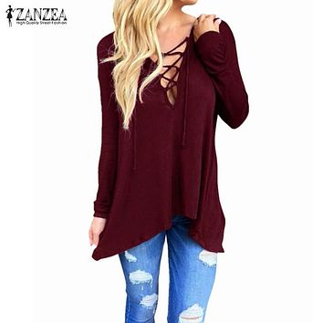 ZANZEA Women 2017 Spring Sexy V Neck Hollow Out Casual Loose Blouse Tops Hooded Solid Long Sleeve Blusas Shirts Plus Size