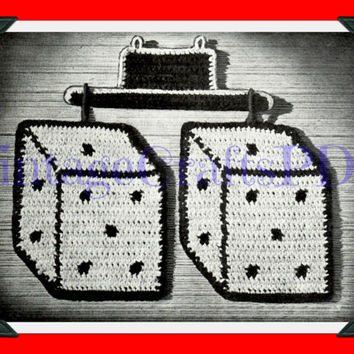 40s Crochet Vintage Pattern | Dice Pot Holders | potholder chickens chicken coop housewarming novelty gift kitsch | Direct from USA