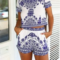 Kranda Summer Beach Dress Loose T-shirt Top and Short 2 Piece Set Playsuit