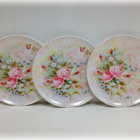 Melamine Melmac Dinner Plates Pink Roses by vintage19something