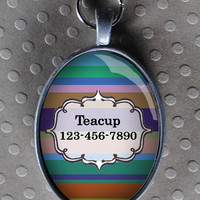 Pet iD tag oval CAT ID small breed Dog Tag Cat Tag by California Kitties colorful striped blue oval ID UTO3245
