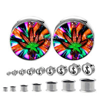 Double flared  steel  paint  Ganja Leaves  Pot  Leaf  plugs , Body Piercing Jewelry  ,Stainless steel  ear plugs,tapers and plugs,0g, 00g