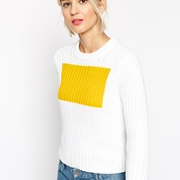 ASOS WHITE Block Print Cotton Jumper