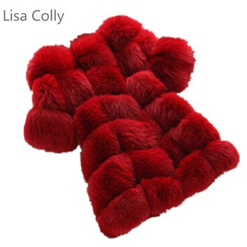 Lisa Colly Women Winter High Imitation Faux Fur Coat Jacket Fur Coat Women Long Fox Fur Vest S-4xl Size