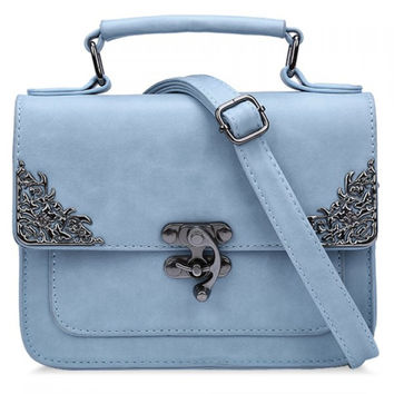 Vintage Style Handbag/Purse w/ Metallic Hasp Design - Pastel Blue