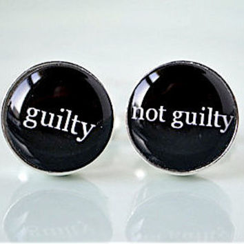 Guilty Not Guilty Silver cufflinks  lawyer law by whitetruffle