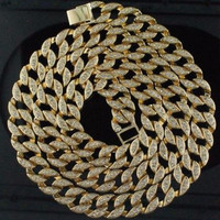 "Hip Hop Bling Iced out 30"" Simulated Diamond 15mm Cuban Link Chain"