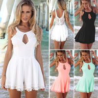 Sexy Overalls For Women Summer Jumpsuit Charm Lace Stitching Rompers Backless Hammock Bandage Sleeveless Short Pants Romper B1