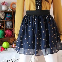 Blue Color Dot Pattern Chiffon Skirt [672]