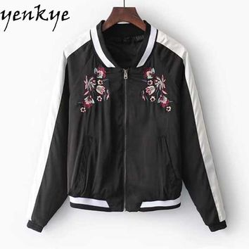 Autumn Women Embroidery Jacket Stand Collar Zipper Long Sleeve Contrast Color Bomber Jackets Casual Basic Coat