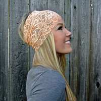 Wide Stretch Lace Headband in Peach Soft Orange by HillNTrees