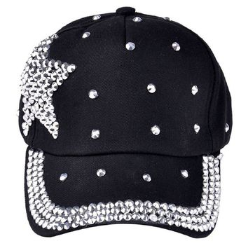 MYPF  Baseball Cap Rhinestone Star Shaped Boy Girls Snapback Hat Black
