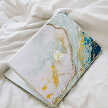 Glitter Agate MacBook Decal - Blue, Yellow, Mint and Gold Vinyl Laptop Skin