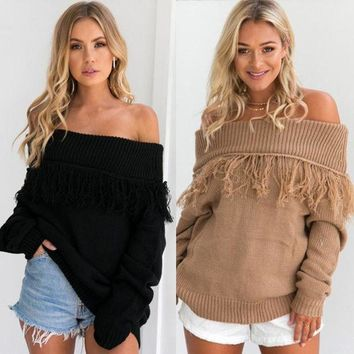 LMFHQ9 Autumn and winter fashion one word shoulder color pure tassel loose sweater long sleeves women