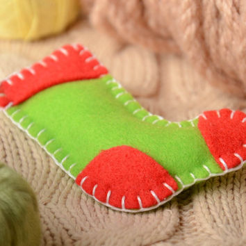 Handmade small felt soft toy Christmas tree ornament green and red Sock