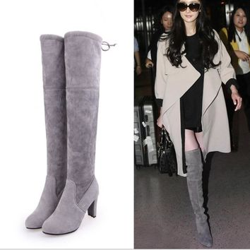Knee-high show tall with pure color Martin boots boots Grey