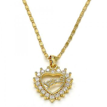Gold Layered 04.156.0046.18 Fancy Necklace, Heart Design, with White Cubic Zirconia, Polished Finish, Gold Tone
