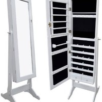White Mirrored Jewelry Cabinet Armoire Organizer Storage Box Stand Cheval