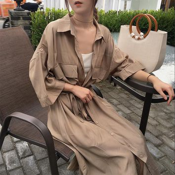chic loose Women Long Sleeve Dress Spring 2018 New Fashion Collar Buttons Long Shirt Dresses Open Slit Women Casual Dress blue