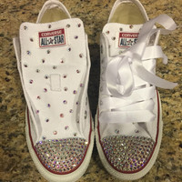 SWAROVSKI CONVERSE- Womens- White Chuck Taylors- Clear AB Elements/Crystals on Toe.. Tongue.. And Heel!!! with White Satin Lace for Shoe Lac