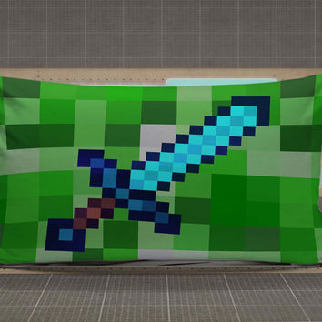 Diamond Sword Minecraft Rectangular Pillow Cases rectangle pillow case, pillow cover, cute and awesome rectangle pillow covers