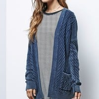 LA Hearts Cable Knit Acid Wash Cardigan - Womens Sweater - Blue