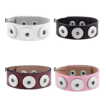 Interchangealbe New Leather Charm Bracelets Economical PU leather snaps bracelets most popular fit ginger snaps KB0000