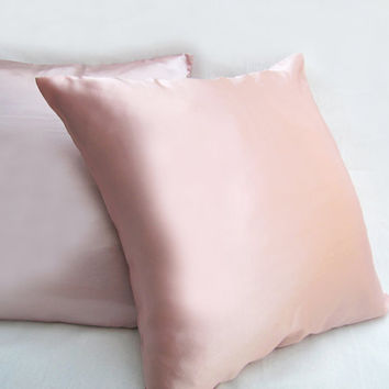 2 Pieces Set. 17inch Silky Satin Blush Pink Pillow Covers Set. Pastel Pink Cushion Covers. Solid Color