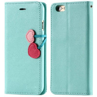 Sweet candy color girly cherry stand flip leather case with card slots for iPhone 6 6 Plus 5s 5 5c 4s 4/Samsung Galaxy S6 S5 S4 S3 Note 4 Note 3 Note 2 = 1958430020