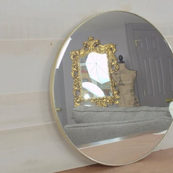 Vintage Large Round Wall Mirror, Simple Brass 19 inch Wall Mounted Mirror, Mid Century Mirror for DIY