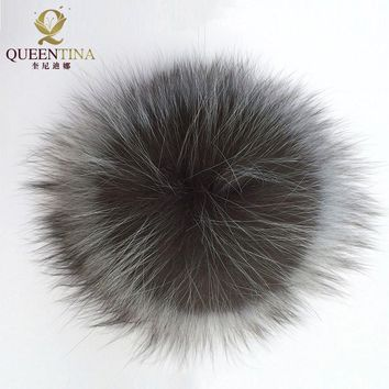 Genuine Real Silver Fox Fur Pompom Fur Pom Poms Ball for Hats & Caps Big Natural Fur Pompon Ball For Shoes Hats Bags Accessories