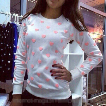 Pink Hearts Print Raglan Sleeves Sweatshirt