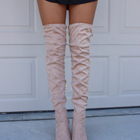 Sparks Fly Nude Thigh High Boots