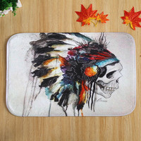 40*60cm Skull Pattern Microfiber Bathroom Bath Rug Set Non-slip Door Mats New