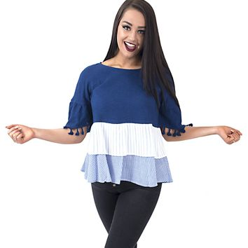 Women's Woven Mixed Knit Top with Sleeve Tassels