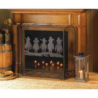 Western Cowboys Decor Tri-Fold Fireplace Screen