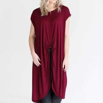 Burgundy PIKO Knotted High-Low Top