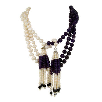 "63"" No clasp Cultured Freshwater Pearls Amethyst & Black Agata Lariat Necklace"