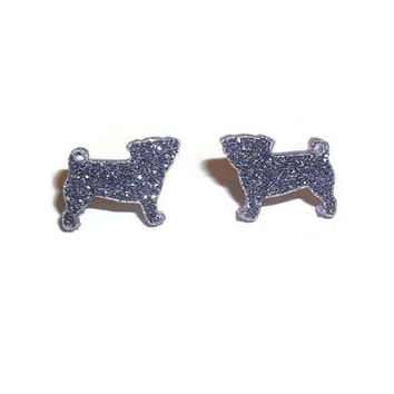 Glitter Pug Earrings, Glitter Purple Lilac Small Dainty Cute Kawaii Dog Stud Earrings, Animal Jewelry