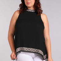 Plus Size Aztec Embroidered Top