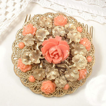 Coral Brooch OR Hair Comb, Gold Filigree Bridal Hair Comb or Brooch, Antique Salmon Art Deco Sash Pin or OOAK Headpiece Vintage Wedding Comb