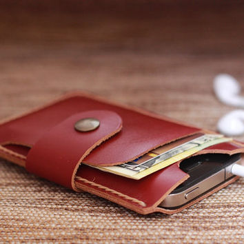 iPhone Wallet Case Mini Crimson Red Leather  4 or 4s ---- Natural Tan Hand-Stitching -- Perfect Groomsmen or Bridesmaids Gifts