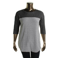 Style & Co. Womens Petites Relaxed Chic Knit Studded Tunic Sweater