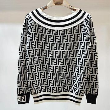 Fendi Women Fashion Casual Knitwear Top Sweater Pullover