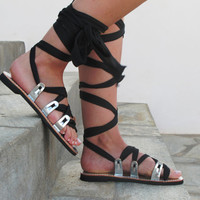 "Greek Leather Sandals, Unique design, silver with black scarf straps. ""APHRODITE"" AS45"