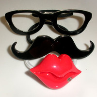 Hey Girl mustache shades glasses lips ponytail holders hairbands hair accessories lot of 3 set rhinestones red black