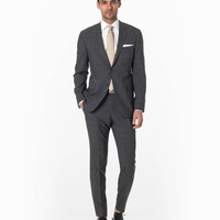 The Mayfair Three Piece Suit in Dark Grey Glen Plaid